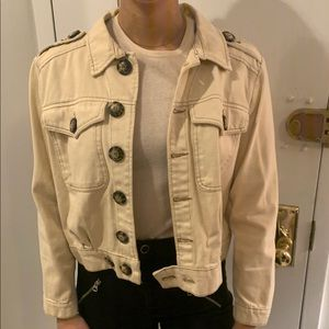 Free People Cotton Eisenhower denim jacket - Ivory